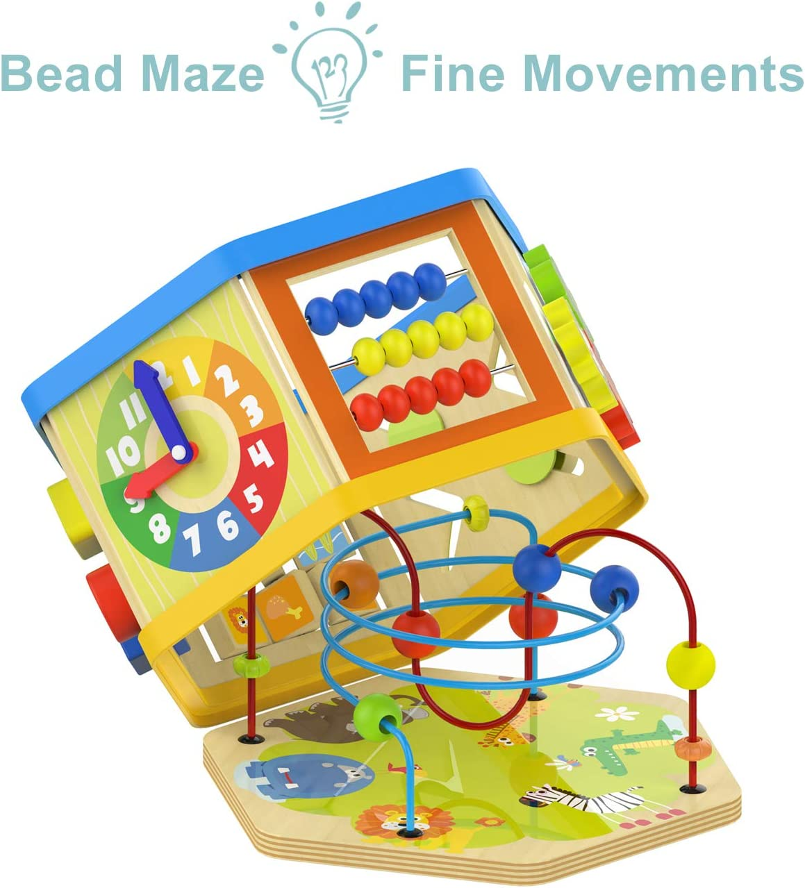TOP BRIGHT Activity Cube Toys Baby Educational Wooden Bead ...
