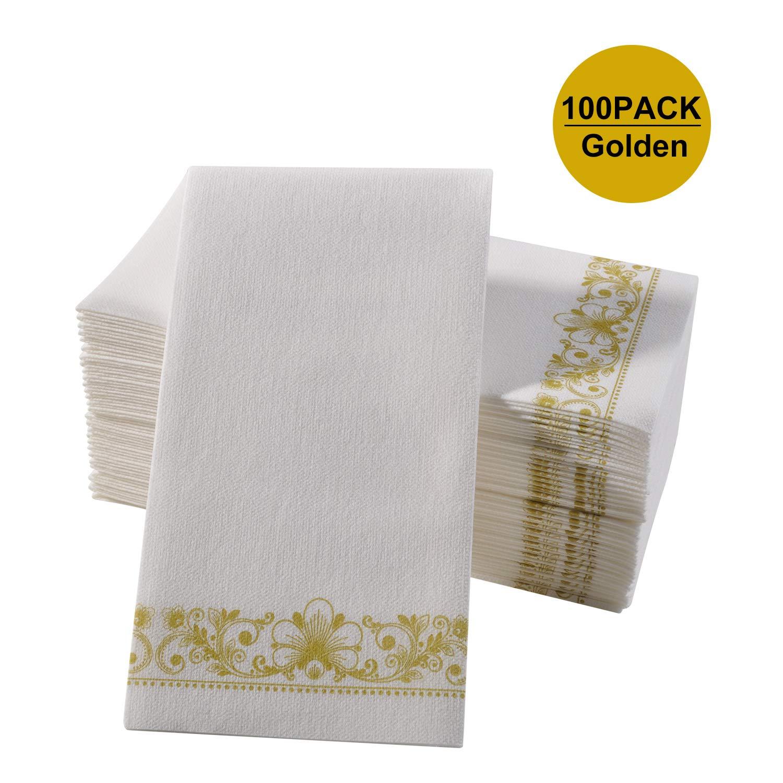 Gold Napkins   Guest Linen Paper Hand Towels for Bathroom Decorative ... 541c92f44509