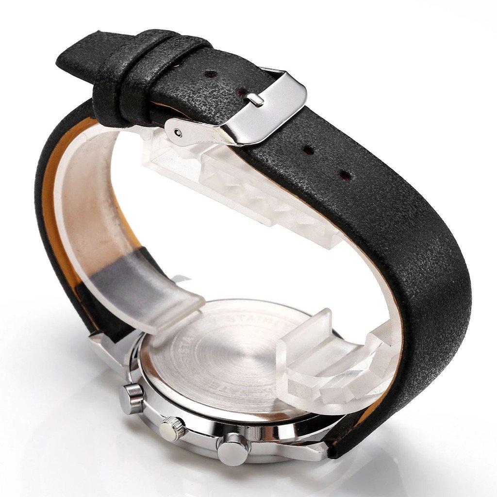 JSDDE Uhren,Modisch Einfach Armbanduhr Traveler unecht Chronograph Quarzuhr Matte Kunstleder Band Armbanduhr,Schwarz