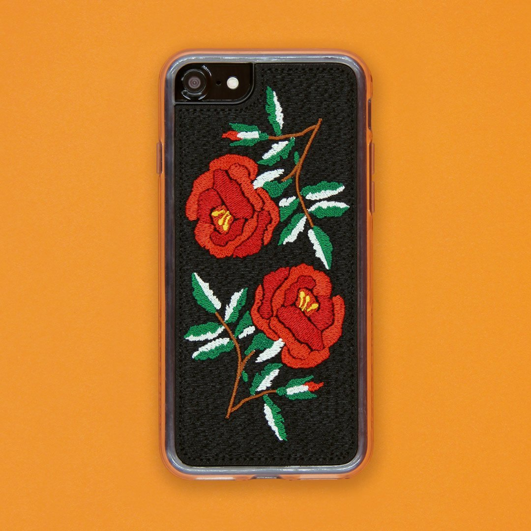 reputable site fb9e1 1ea21 Zero Gravity Apple iPhone 7 Plus / 8 Plus Ojai Phone Case - Embroidered  Rose Design - 360° Protection, Drop Test Approved