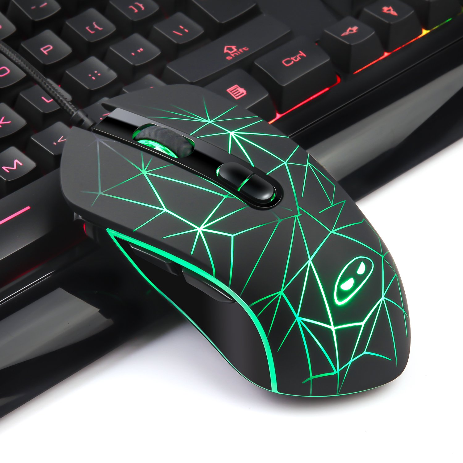 Gaming Keyboard and Mouse Combo,MageGee Wired Backlit Keyboard and Gaming Mouse Combo,PC Keyboard and Adjustable DPI Mouse for PC//loptop//MAC