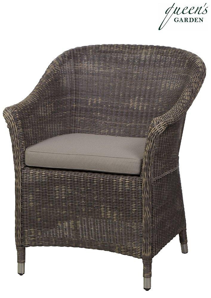 Queen´s Garden 367583 Country Sessel Aluminium Gardino®-PRO loom-optik braun 100% Elastolefin taupe