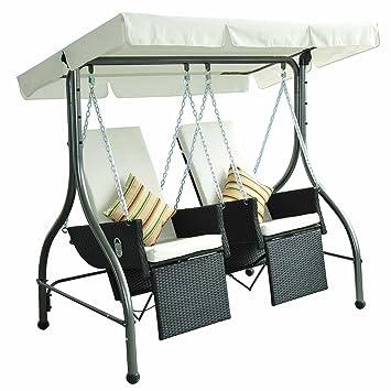 Outsunny Multi Functional Polyrattan Garden Swing Swinging