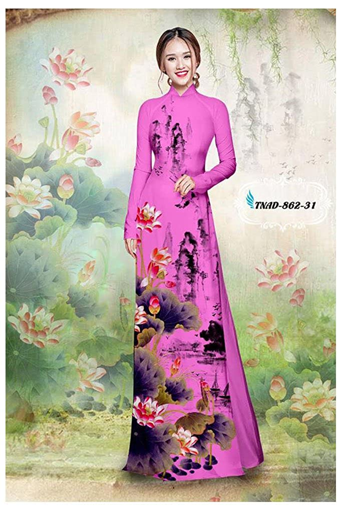 Traditional Vietnamese Long Dress Collections with Pants Silk 3D ADVN00214 Ao Dai All Size