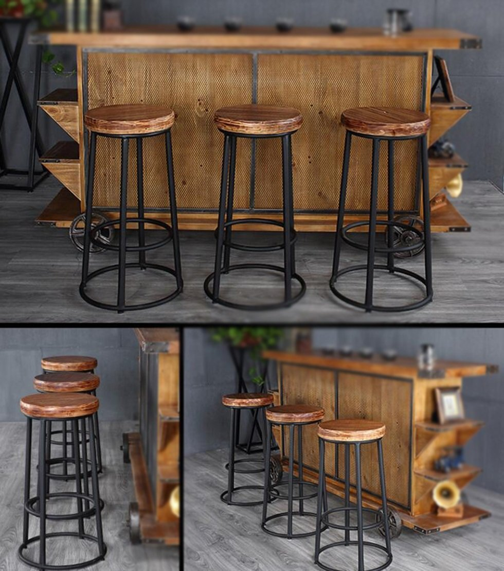 Retro Solid Wood Bar Stools / Simple High Chair / Bar Stool / Front Desk Chair / Modern High Stool ( Style : Wood )
