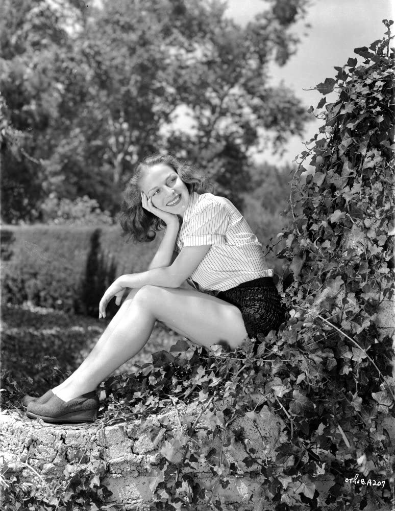 Vera Zorina sitting on vine covered rock with her head leaned into her head smiling away from the camera Photo Print (24 x 30)