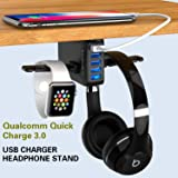 Yostyle Headphone Stand with USB Charger,Under Desk 5 USB Port QC3.0 Quick Charging Station & Headset Hanger and Mount…