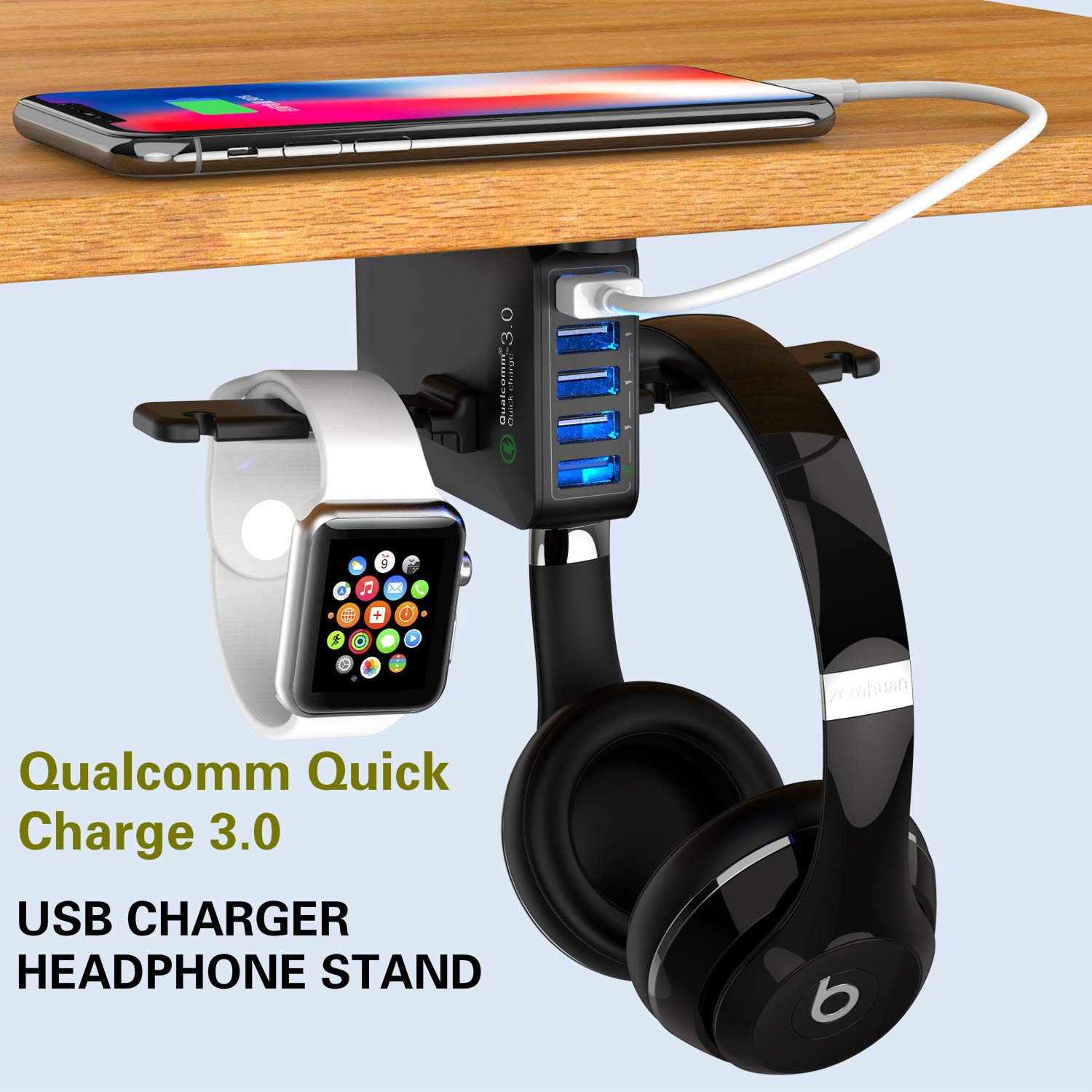 Yostyle Headphone Stand with USB Charger, Under Desk Headset Hook Holder Hanger Mount with 5 USB Port Quick Charging Station(8A/40W) and Cable Organizer for PC Gaming Headsets Accessories,UL Tested