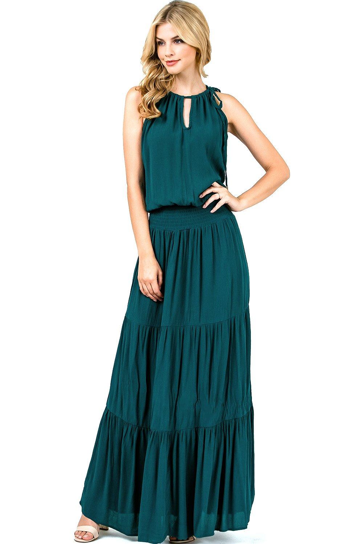 Love Stitch Women's Floral Long Flowy Halter Maxi Dress (S, Peacock)