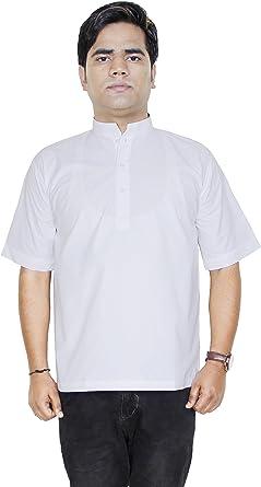 Camisa de la manera ropa - hombres de manga corta de algodón kurta india - vestidos -tamaño XL: Amazon.es: Ropa y accesorios