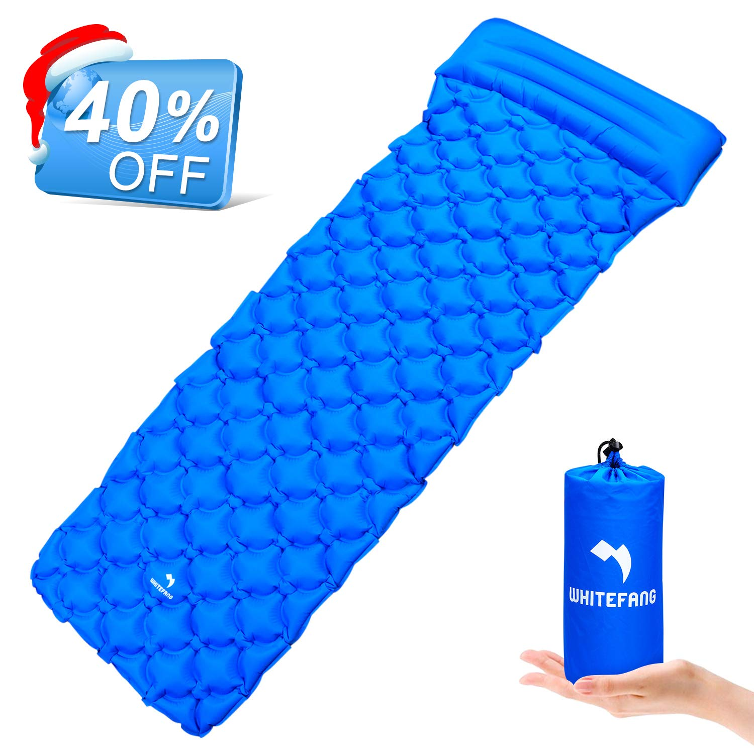 Inflating Camping Mattress with Pillow Portable Waterproof Mat Gear Lightweight Pad for Backpacking Bag Hammock Outdoor Whitefang Ultralight Sleeping Pad Hiking
