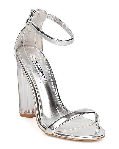 0a81db7d2d6 Amazon.com | Women Lucite Block Heel Sandal - Ankle Strap Chunky ...