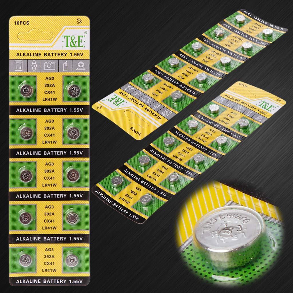 smallJUN 10 Pezzi Batteria alcalina a Bottone Batteria AG3 1,55 V Batterie a Bottone Lampada Catena Finger Light Orologio Giocattoli Giocattoli Batteria a Distanza Nero