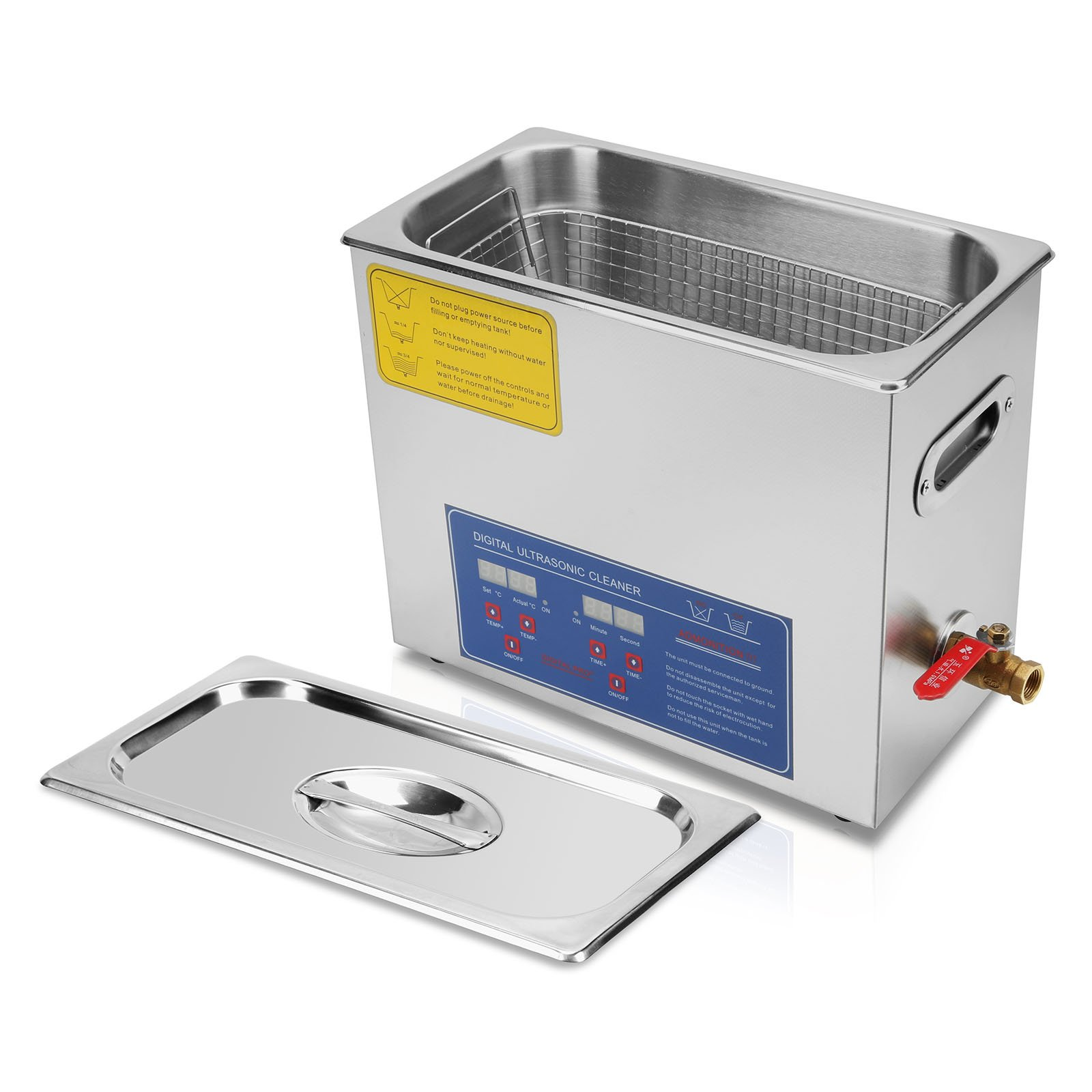 OrangeA Ultrasonic Cleaner Ultrasonic Cleaner Solution Heated Ultrasonic Cleaner 6L for Jewelry Watch Cleaning Industry Heated Heater with Drainage System (6 Liter) by OrangeA (Image #2)