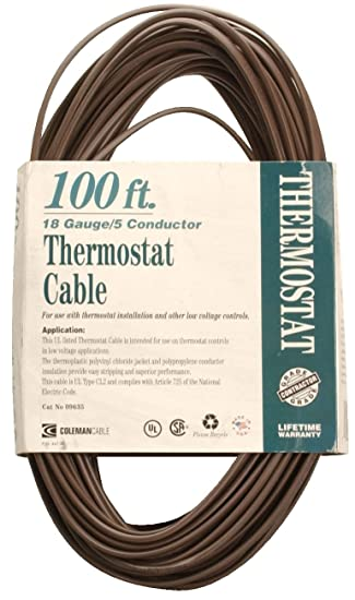 Coleman Cable 09635 CL2 Bulk Thermostat Cable, 18-Gauge 5-Conductor ...