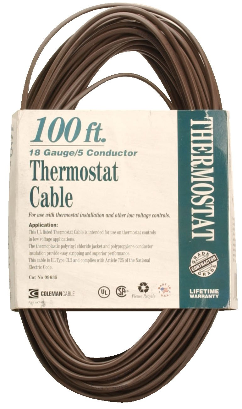 Coleman Cable 09635 CL2 Bulk Thermostat Cable, 18-Gauge 5-Conductor 100-Feet