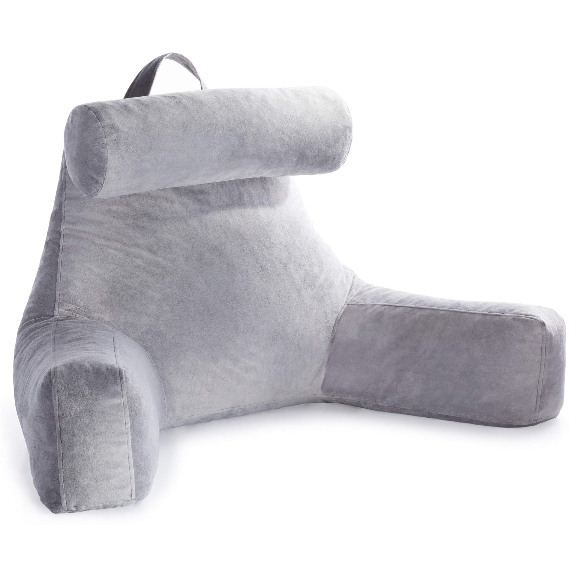Linenspa Shredded Foam Reading Pillow with Neck Support - Extra Large Design for Adults - Perfect for Back Support While Relaxing, Gaming, Reading, or Watching TV - Soft Velour Cover (Renewed) by Linenspa