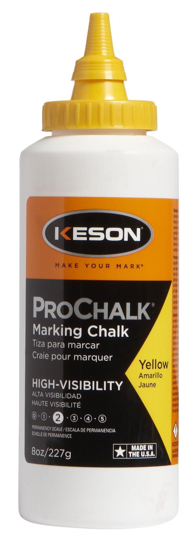 Keson 8Y ProChalk High Visibility Marking Chalk - Level 2, Yellow, 8-Ounce