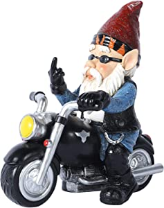 JHWKJS Garden Gnome Riding Motorcycle Funny Outdoor Gnome Decoration Indoor Outdoor Lawn Figurines for Home Yard Décor, Small