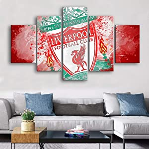 HSART Watercolor 5 Pieces Wall Art Liverpool Posters Canvas Paintings Football Sports Print Kids Room Wall Art Home Decor Pictures,B,25x40x2+25x60x1+25x50x2