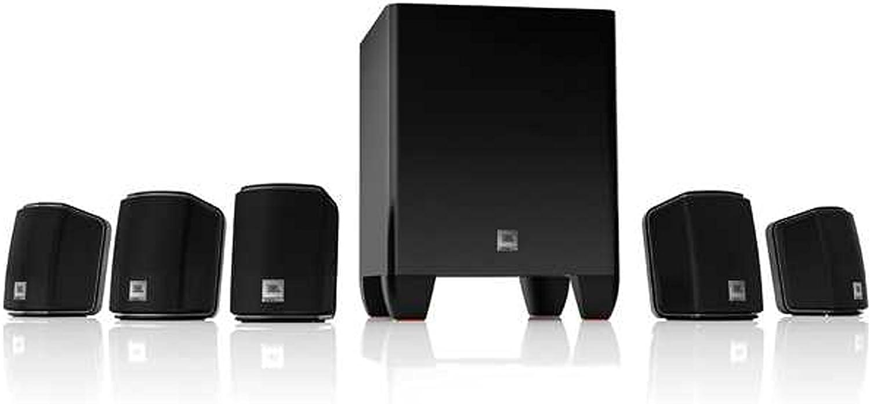JBL Home Cinema 510 Sistema de Altavoces de Sonido Envolvente Home Theatre 5.1 Canales de fácil instalación, Incluye 5 Altavoces satélite y 1 Subwoofer Amplificado de 60 W, Color Negro