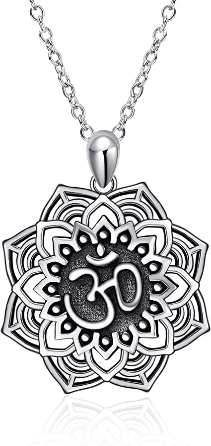 sterling silver flower statement necklace for women yoga Open Mandala Necklace best friend gift large lotus pendant