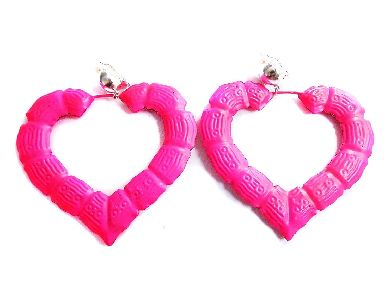Clip-on Earrings Large Bamboo Heart Hoop Earrings Assorted Colors 3.5 inch