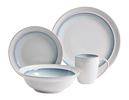 Gibson Elite 16 Piece Lawson Dinnerware Set White/Teal  sc 1 st  Amazon.com : complete dinnerware sets - pezcame.com