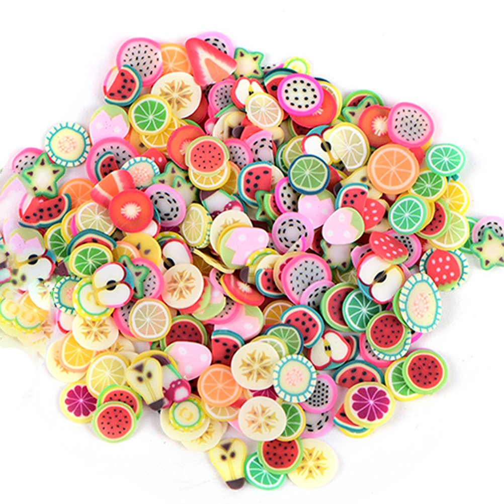 2500 Pcs Nail Art Soft Ceramics Sticker 3D Nail Tips Polymer Fimo Slices Clay Decoration Manicure Nail Decor DIY Slime, Decal Pieces Accessories, Fruit, Flower, Star, Heart, Bow tie, Butterfly by WWmily Plasitccc