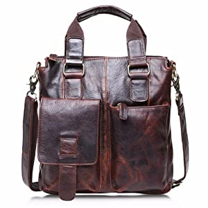 Compia Men's Buffalo Top Layer Crazy-Horse Genuine Cow Leather Retro Messenger Shoulder Laptop Bag Satchel Briefcase