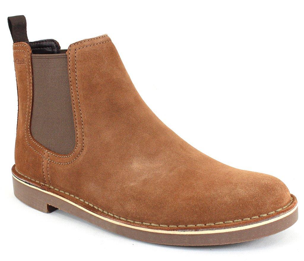 CLARKS Men's Bushacre Hill Chelsea Boot, Tan Suede, 095 M US