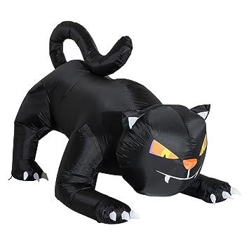Homcom Aufblasbare Katze Figur Schwarz Halloween Deko Luftfigur Mit LED  Beleuchtung, Polyester, 190x110x120cm