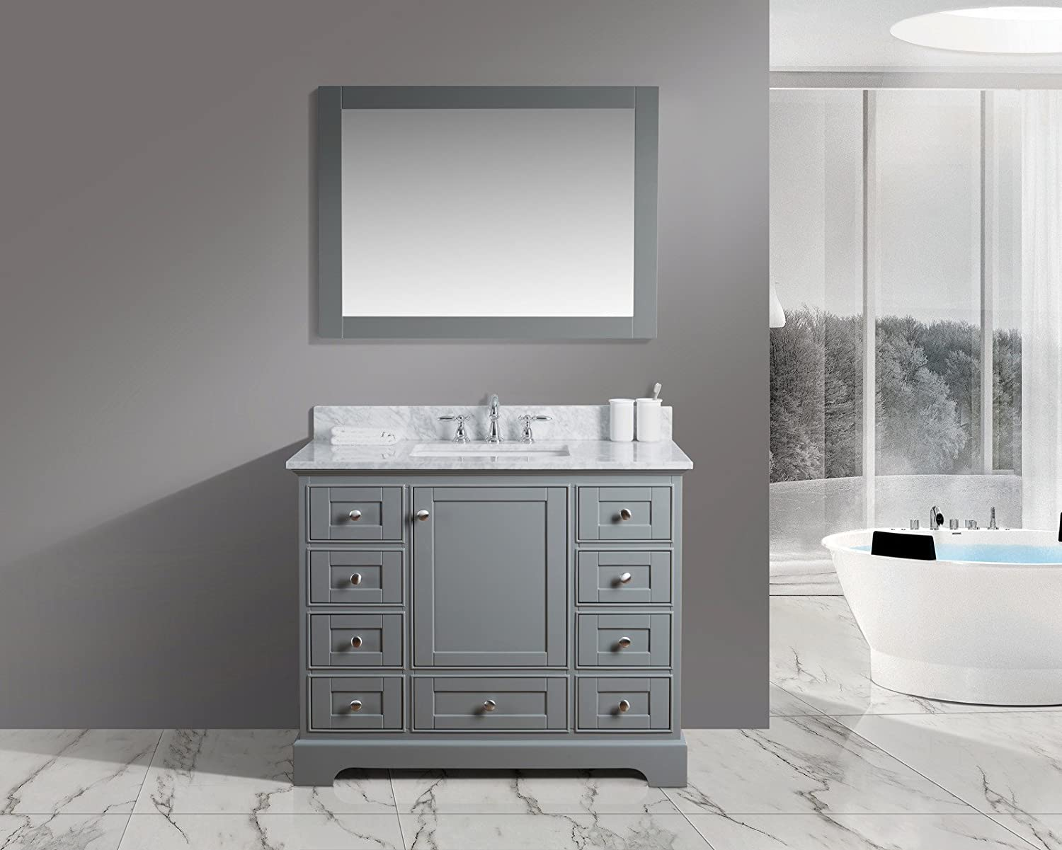 "UrbanFurnishing.net - Jocelyn 42-Inch (42"") Bathroom Sink Vanity Set with White Italian Carrara Marble Top - Distressed Gray"