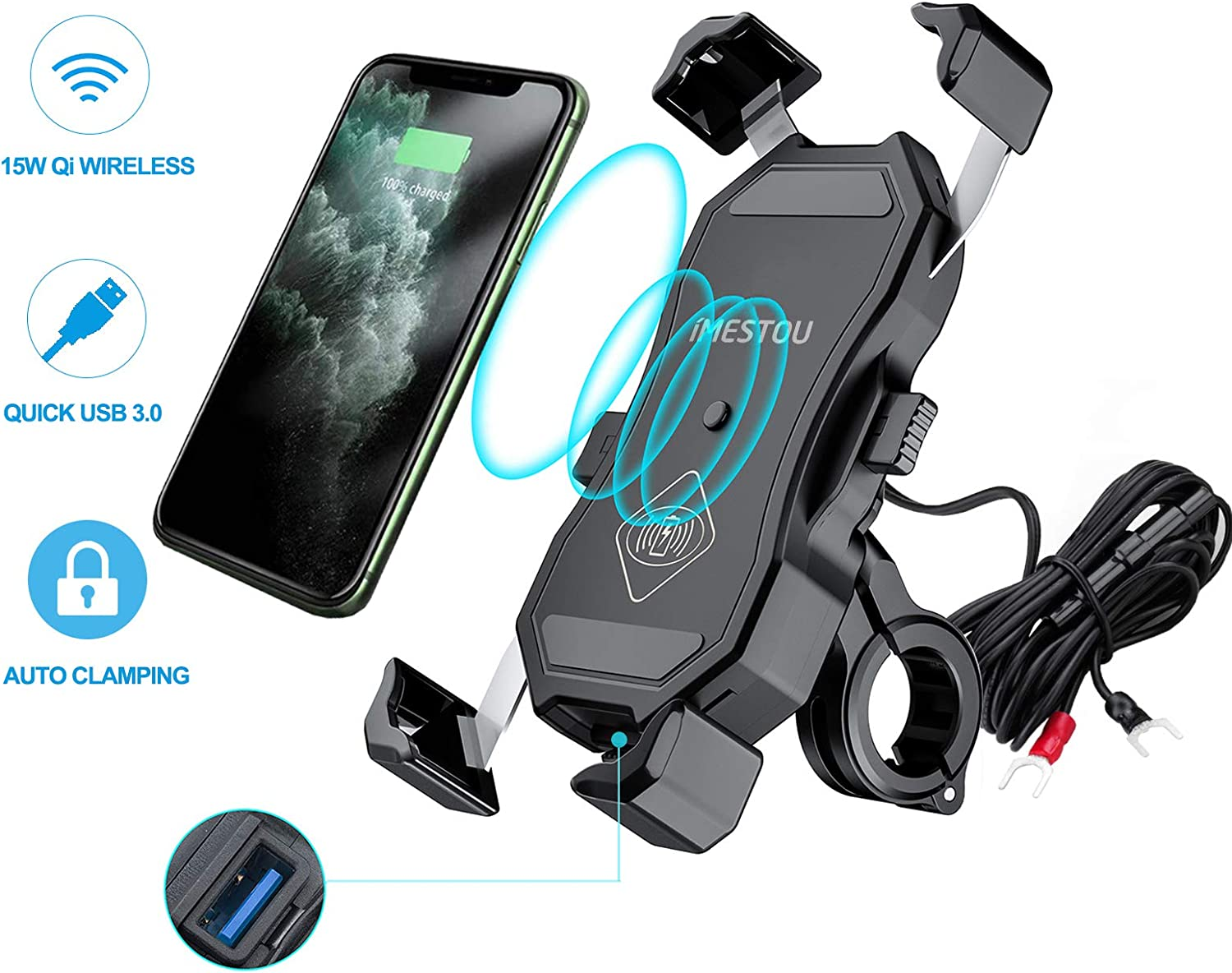 iMESTOU Motorcycle Wireless Qi/USB Phone Charger Holder Handlebar/Rear-view Mirror Cellphone Mount with Waterproof Switch 10A Fuse Fast Charging for iPhone Samsung 3.5-6.5 inch Cellphones