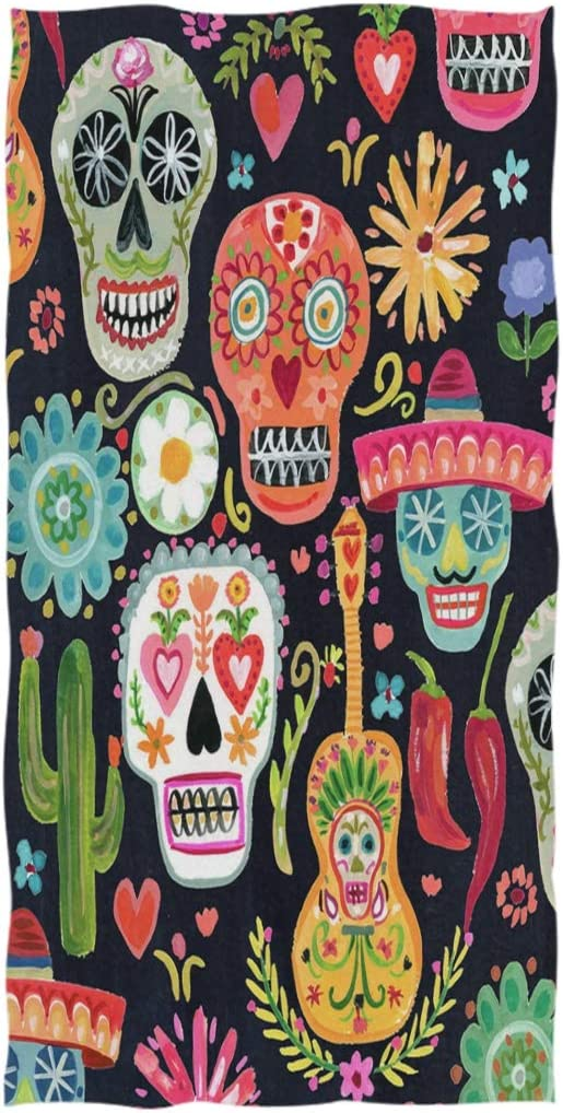 Amazon Com Zzwwr Day Of The Dead Sugar Skulls Pattern Soft Highly Absorbent Guest Large Home Decorative Hand Towels Multipurpose For Bathroom Hotel Gym And Spa 16 X 30 Inches Home Kitchen