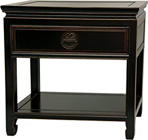 Oriental Furniture Rosewood Bedside Table - Antique Black