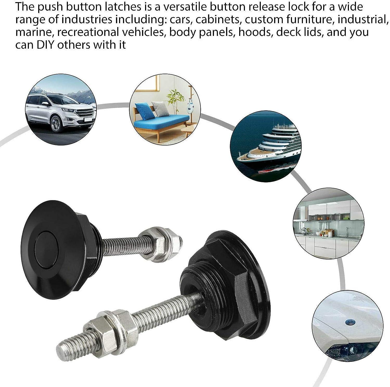 Push Button Bonnet Gangmu Tec Pack of 8 Universal Aluminum Vehicle Hood Pins License Plate Lock Clip Diameter 1.25 inch Quick Release Lock Latch Bumper