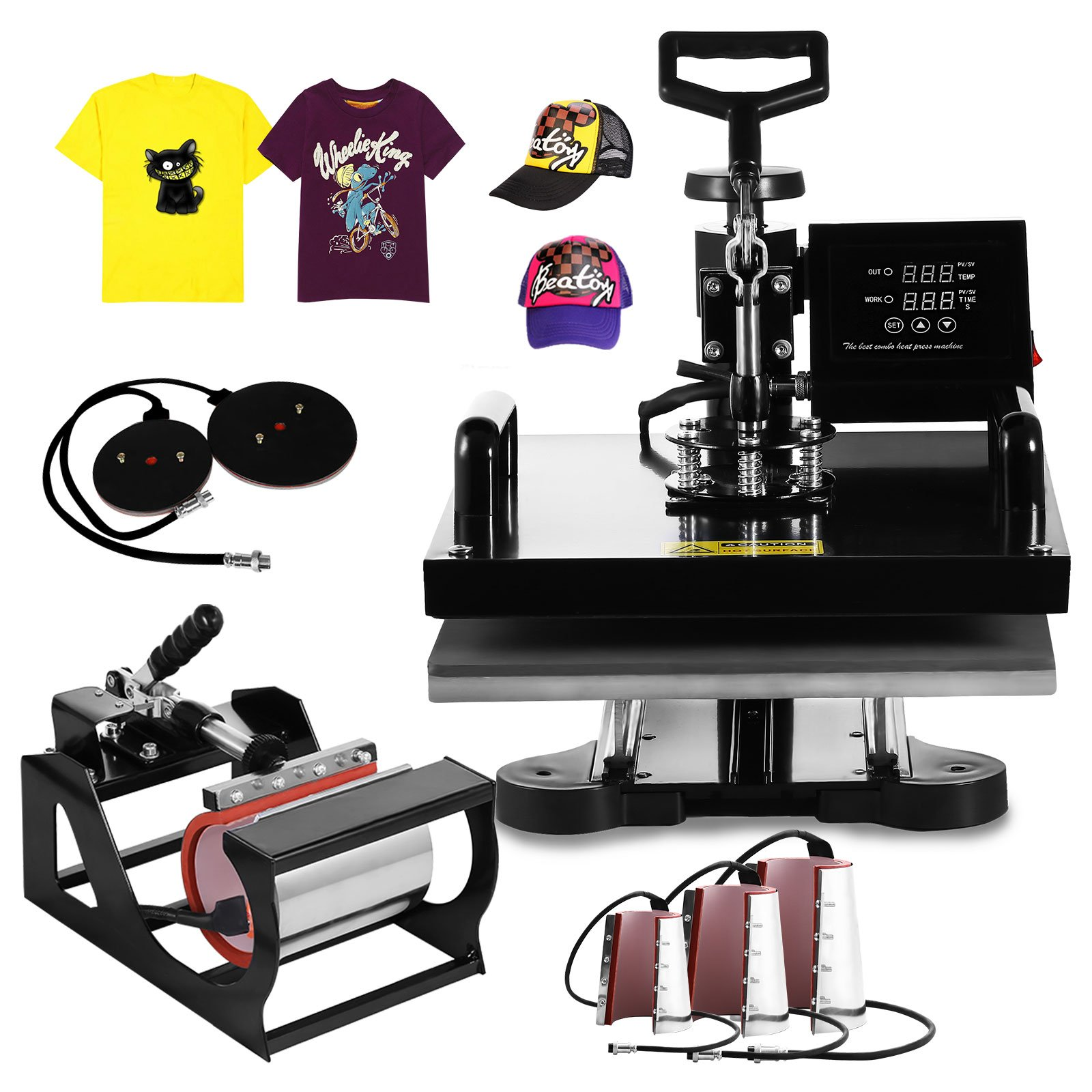 Happybuy 8 in 1 15'' X 15'' Heat Press 360 Degree Swing-away Heat Press Machine Multifunction Sublimation Combo T Shirt Press Machine for Mug Hat Plate Cap Mouse Pad (8 in 1 15'' X 15'') by Happybuy