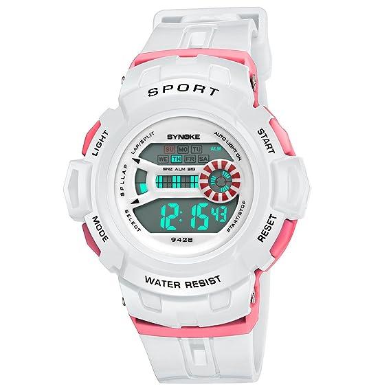 fomtty niña niños relojes impermeable deportivo Niños Reloj silicona reloj de pulsera Blanco Esfera para niños Reloj digital reloj: Amazon.es: Relojes