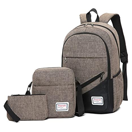 Amazon.com : HE-bag Backpack 3pcs/Set Business Laptop Backpack College Travel Backpack USB Charging for Men Women School Rucksack Handbag Single Shoulder ...