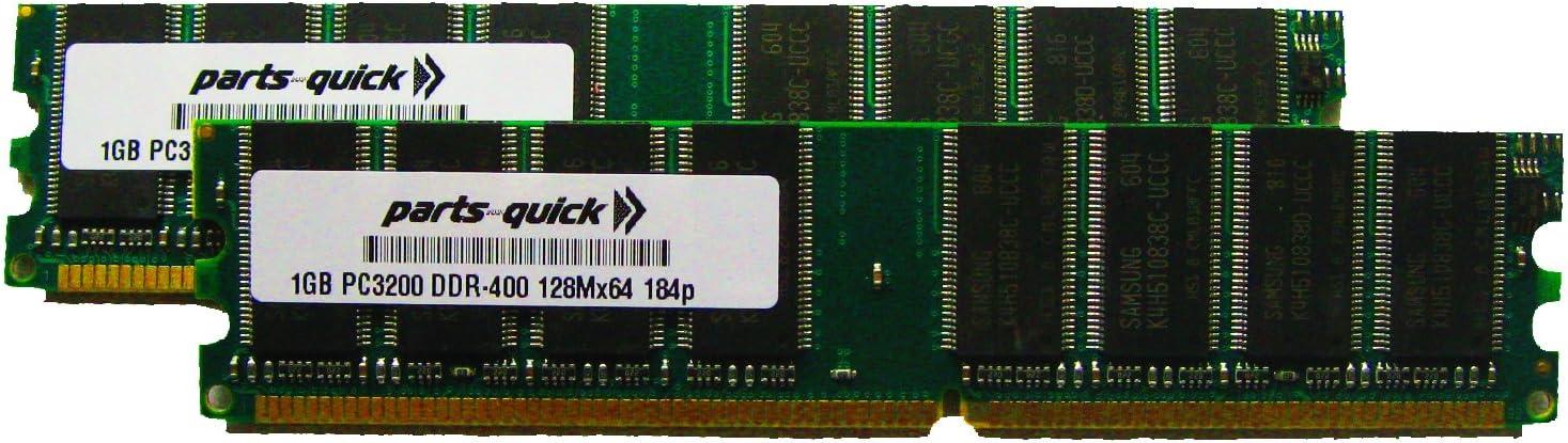 2GB Kit 2 X 1GB DDR PC3200 400MHz 184 pin DIMM PC Desktop Computer Memory RAM (PARTS-QUICK Brand)