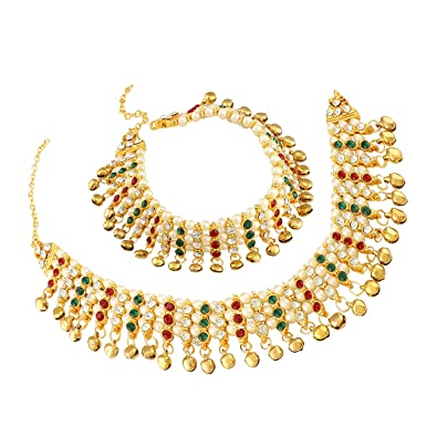 60babd3d3 Buy Mann Jewels Designer Heavy Fancy Jhanjhar Bridal Payal for Women Latest  Anklet with Pearls