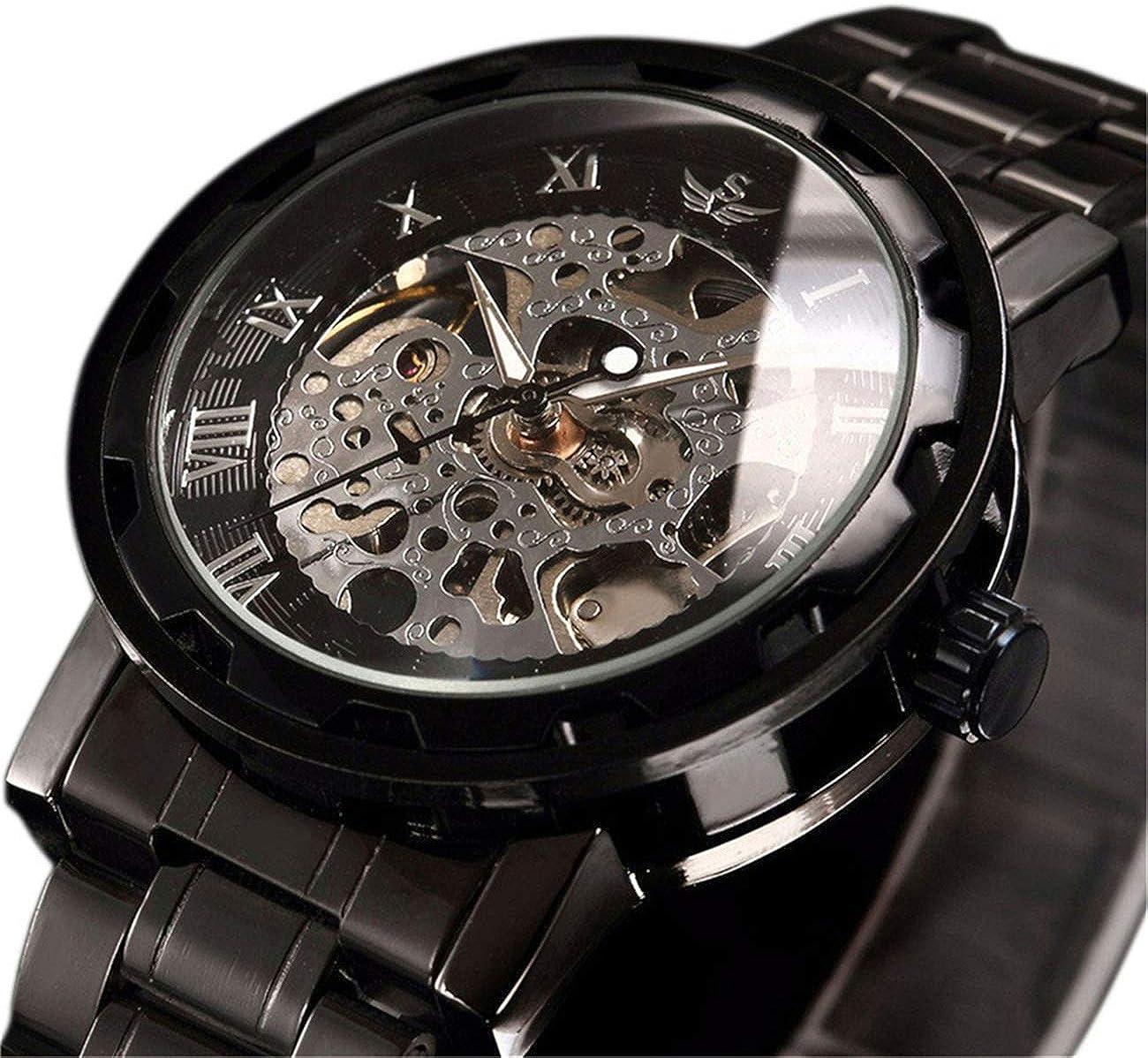 Relojes, Relojes para Hombres Reloj mecánico de Estilo clásico Acero Inoxidable Esqueleto Diseño intemporal Punky Steam mecánico con Pulsera de eslabones