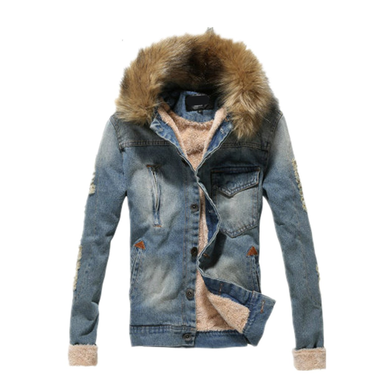 Tengfu Winter Mens Fur Collar Slim Denim Jacket at Amazon Men's ...