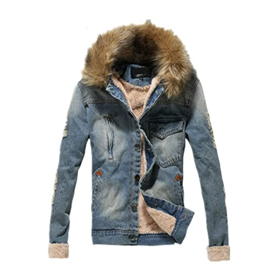 ad499215af4 Tengfu Winter Mens Fur Collar Slim Denim Jacket at Amazon Men's Clothing  store: