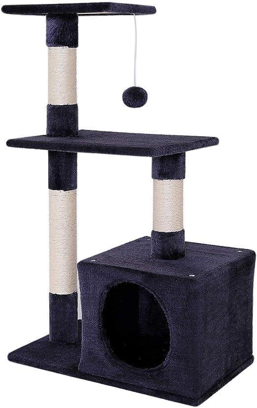 Árbol rascador para gatos árbol para escalar altura 85 cm gris oscuro: Amazon.es: Productos para mascotas
