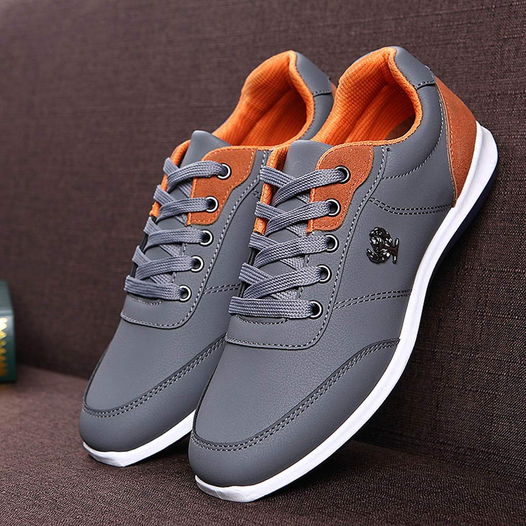 Lloopyting Mens Pu Solid Color Causal Shoes Light Comfort for Walking Gym Lightweight Fashion Sneakers Lace-Up Flat Shoes Gray by Lloopyting (Image #5)