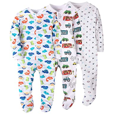 eff277ff33c4 Amazon.com  Baby Boys Footed Pajama - 100% Cotton Zip Front Sleep ...