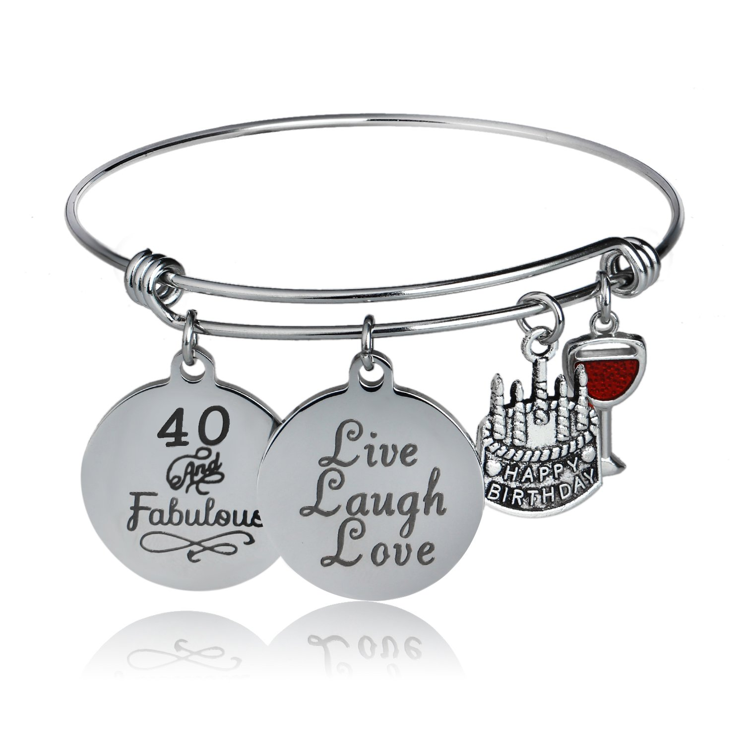 YeeQin Happy Birthday Bangles, Cake Cheer Live Laugh Love Charms Bangle Bracelets, Gifts For Her (40th Birthday)
