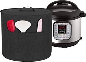 Homai Dust Cover for 6 Quart Instant Pot Pressure Cooker, Cloth Cover with Pockets for Holding Extra Accessories, Black (Medium)